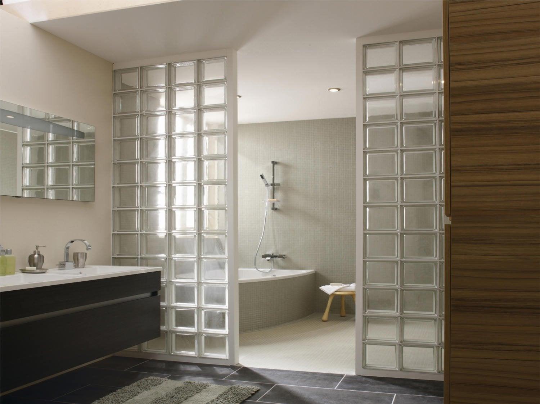 Plaquette de parement brique de verre leroy merlin - Salle de bain pave de verre ...