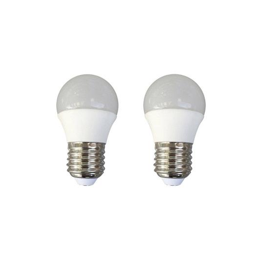 2 ampoules sphériques LED 6W = 470Lm (équiv 40W) E27 3000K 150° LEXMAN