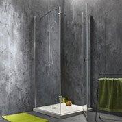 Porte de douche pivotante 78.5/80 cm profilé chromé, Premium2 + p. fixe