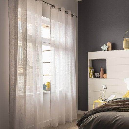 voilage aspect lin blanc x cm leroy merlin. Black Bedroom Furniture Sets. Home Design Ideas