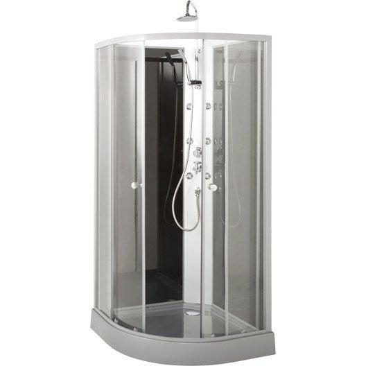 cabine de douche 1 4 de cercle x cm geo leroy merlin. Black Bedroom Furniture Sets. Home Design Ideas
