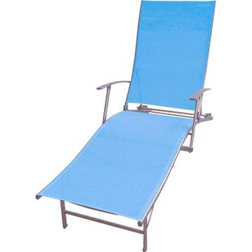 bain de soleil dejardin en acier zen bleu - Chaise Longue Jardin