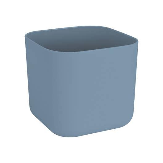 Cache-pot plastique ELHO Diam.18.5 L.18.5 x l.18.5 x H.16.8 cm bleu ...