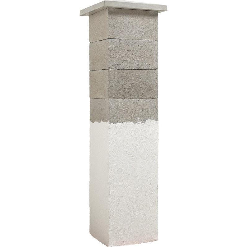 Elément De Pilier Classique Pilier Beton à Enduire Gris H20 X L37 X P36 Cm