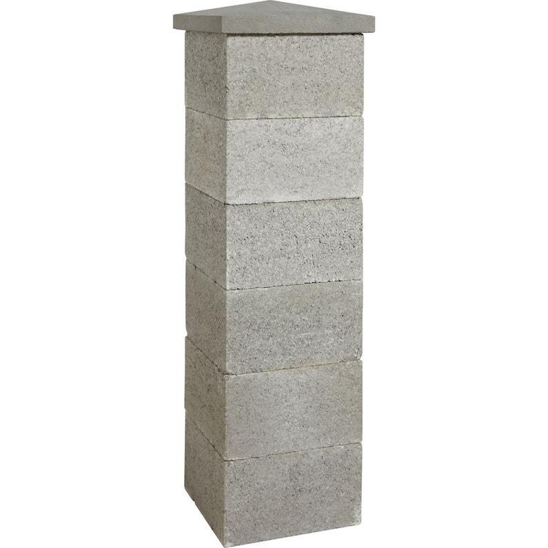 el ment de pilier tradition enduire gris x x. Black Bedroom Furniture Sets. Home Design Ideas
