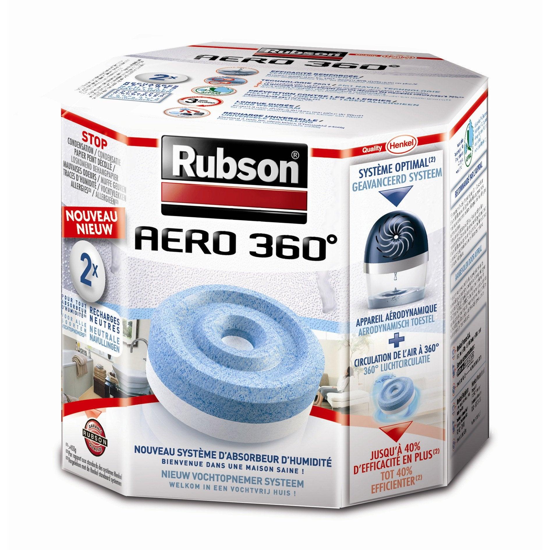 Absorbeur D Humidité Avis rubson aéro 360° lot de 2 recharges tablette pour absorbeur d'humidité 20 m²