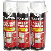 Mousse expansive Isoler et reboucher AXTON 3x500ml