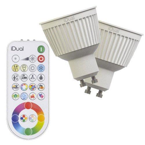 2 ampoules réflecteurs LED changement de couleurs + télécommande 6.5W GU10 Idual
