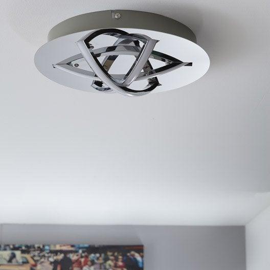 Gallery of plafonnier design led intgre mtal chrome for Carrelage adhesif salle de bain avec lampadaire conforama led