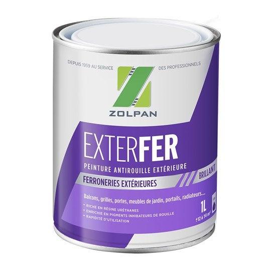 Peinture fer ext rieur zolpan blanc 1 l leroy merlin for Peinture metal exterieur