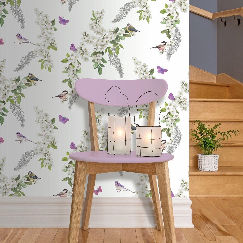 Papier Peint Intisse Fleur Blanche Multicouleur Leroy Merlin