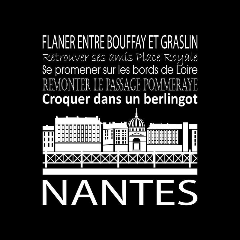 Toile Imprimée Nantes Noir Artis L30 X H30 Cm