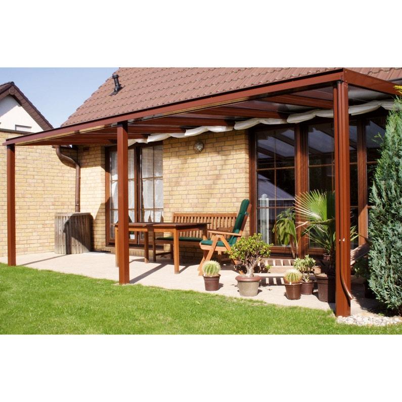 Couverture de terrasse adossée Exclu, aluminium couleur à choisir, 19 m²