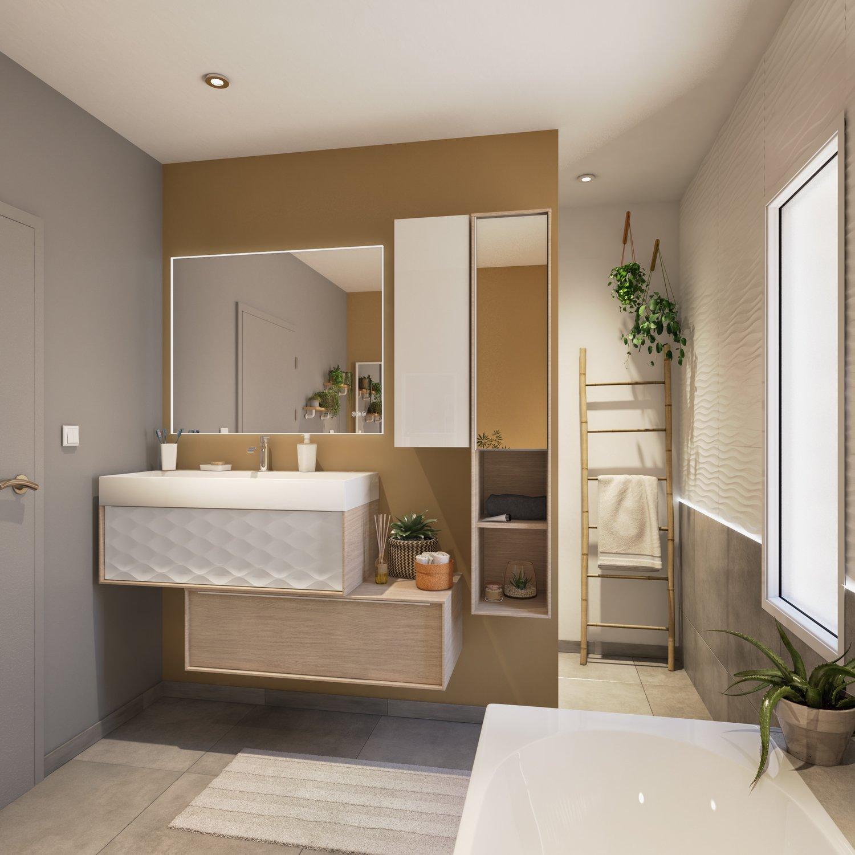 Meubles de salle de bains blanc et effet bois superposés ...