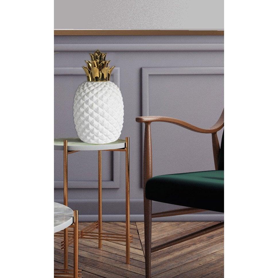 Lampe de salon, chic, porcelaine blanc/doré, MATHIAS Ananas