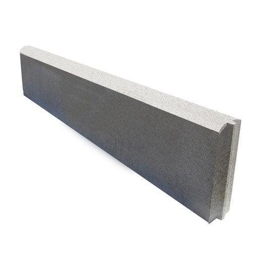 bordure droite longueur 1m avec embo tement b ton gris x cm leroy merlin. Black Bedroom Furniture Sets. Home Design Ideas