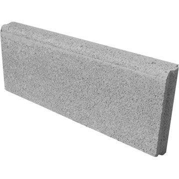 Bordure droite Avec emboîtement béton gris, H.20 x L.50 cm