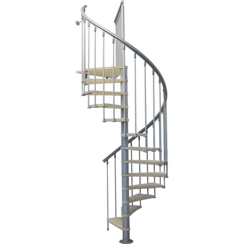 Escalier Colimaçon Rond Réversible Acier Gris Nice 12 Marches 130 Cm