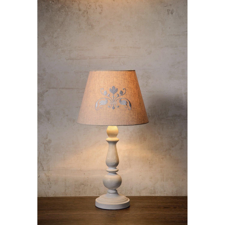 lampe e27 robin lucide lin taupe 40 w leroy merlin. Black Bedroom Furniture Sets. Home Design Ideas
