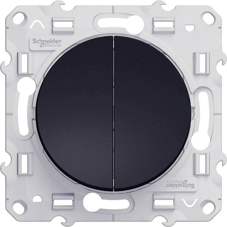 Double Interrupteur Va Et Vient Odace Schneider Electric Gris Anthracite