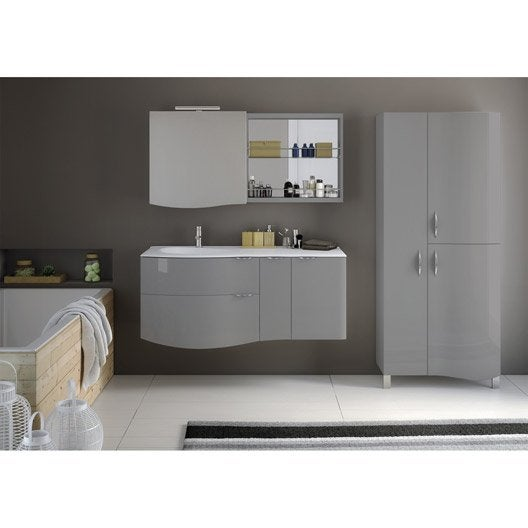 Meuble de salle de bains de 100 à 119, gris / argent, Elegance