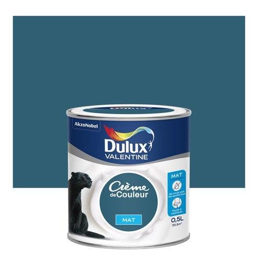 peinture bleu paon mat dulux valentine cr me de couleur 0 5 l leroy merlin. Black Bedroom Furniture Sets. Home Design Ideas