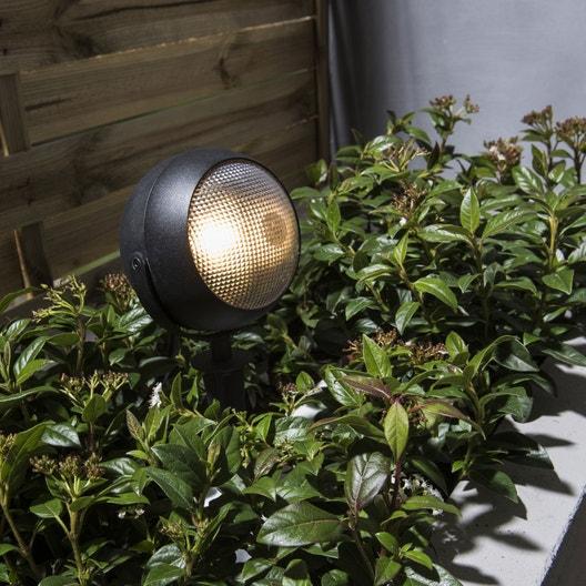 Spot piquer ext rieur litchi gu10 35 w noir inspire leroy merlin for Spot decoratif exterieur