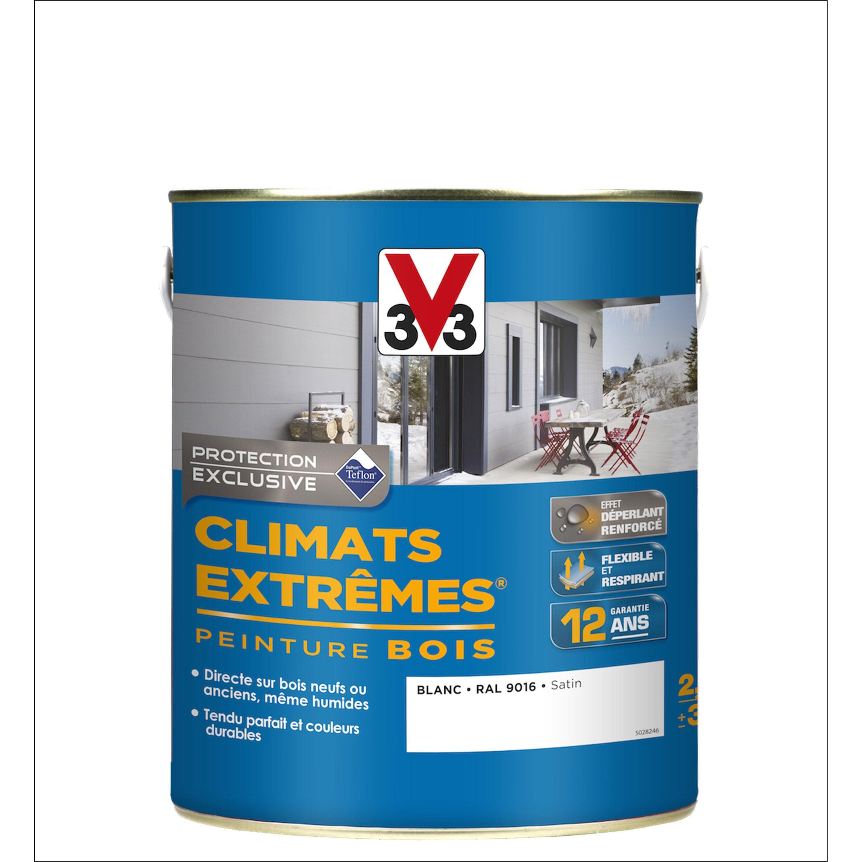 Maison Peinte En Blanc Exterieur peinture bois extérieur climats extrêmes v33, satin blanc, 2.5 l