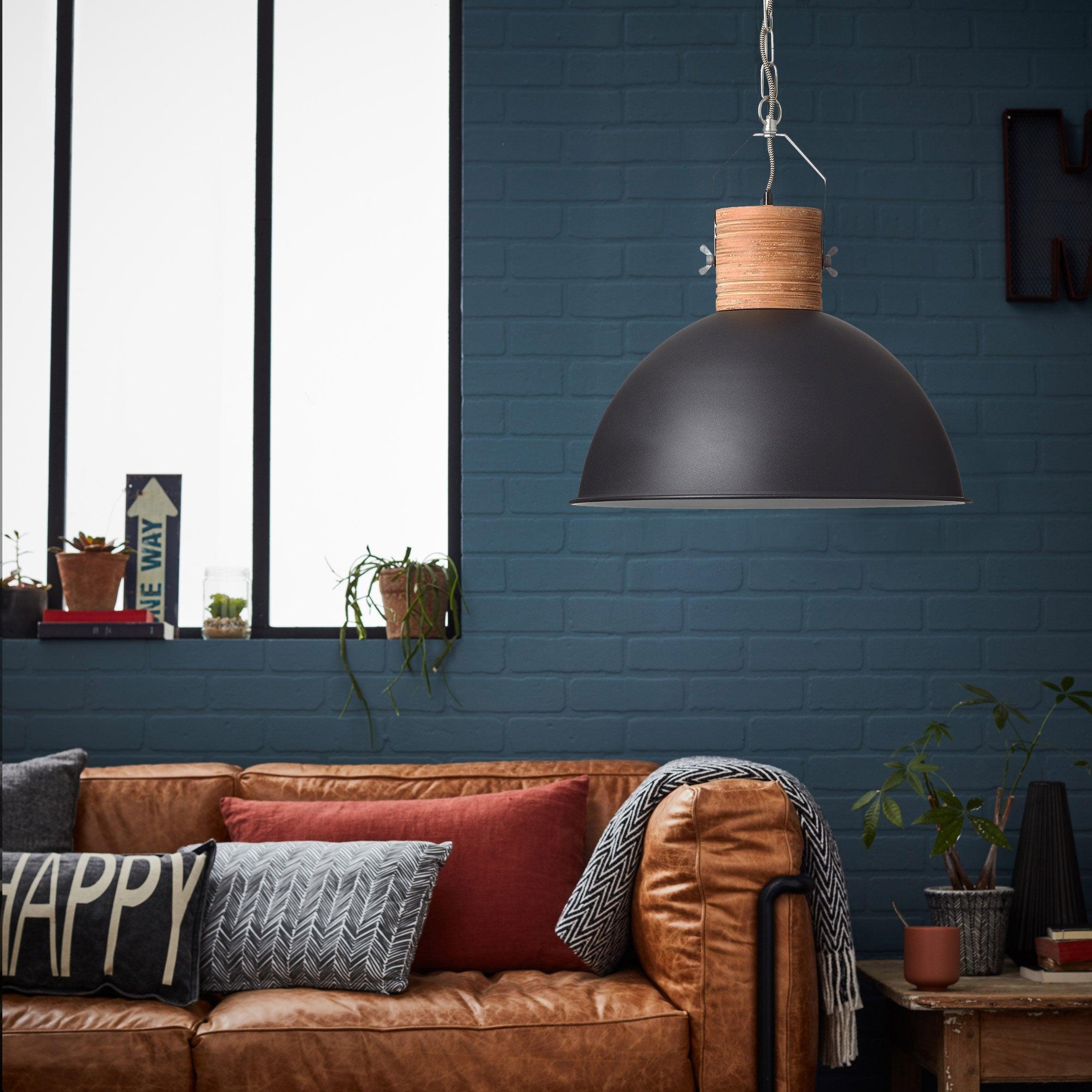 Suspension, e27 style industriel FRIEDA métal noir bois 1 x 60 W BRILLIANT
