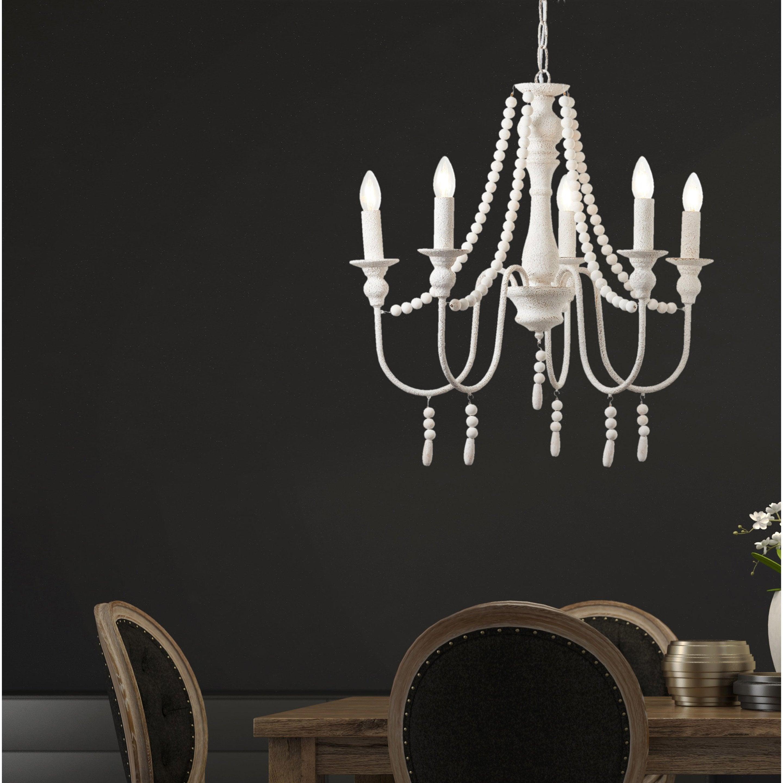 Suspension, romantique charme métal blanc BRILLIANT Trianon 5 lumière(s) D.62 cm