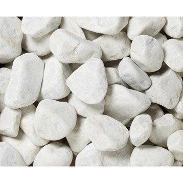 Galets en marbre mat, blanc, 30/50 mm, 25 kg