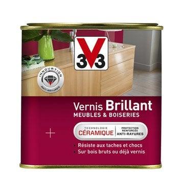 Vernis meuble et objets v33 brillant incolore for Peindre du bois vernis