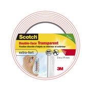 Adhésif SCOTCH fixation double face intérieur/extérieur L3m xl19mm, transparent