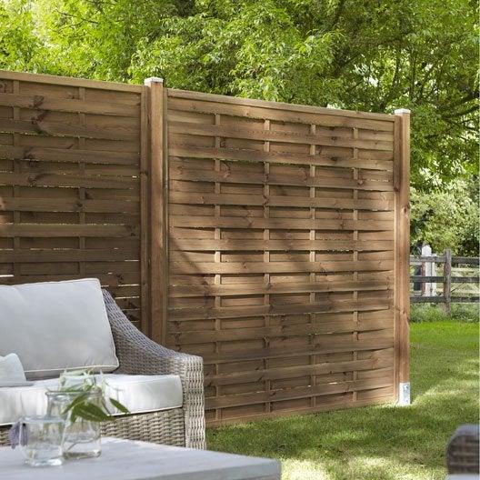 Panneau en bois droit plein naterial l 180 x h 180 cm marron for Leroy merlin cloture jardin