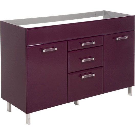 meuble sous vasque opale aubergine l120xh84xp45cm 3 tiroirs 2 portes leroy merlin. Black Bedroom Furniture Sets. Home Design Ideas