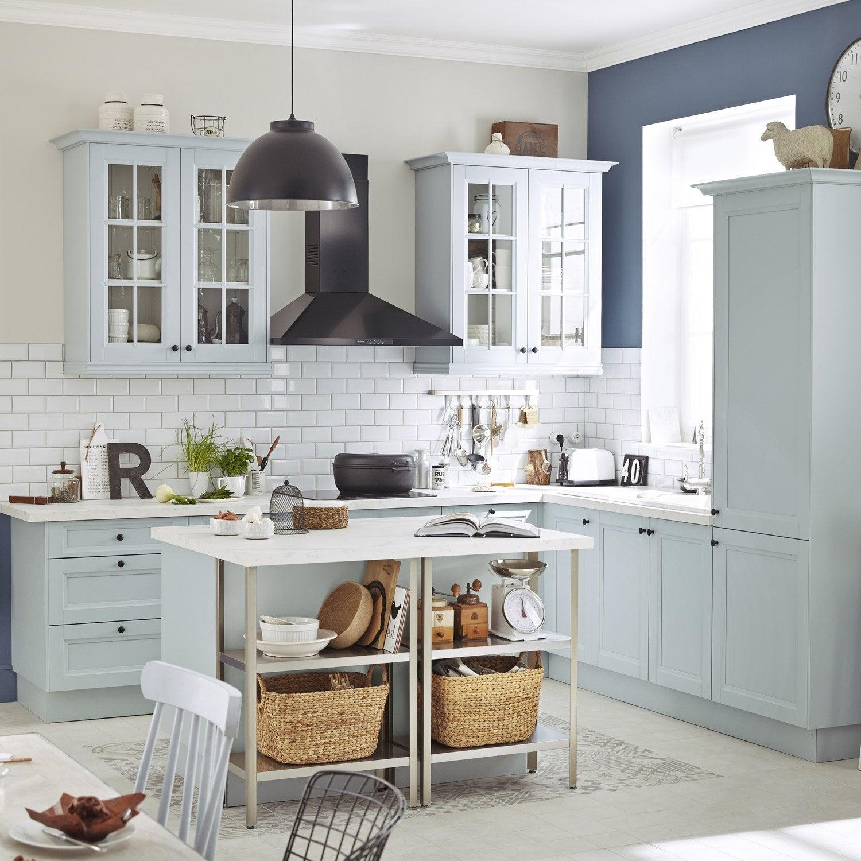 Meuble de cuisine bleu delinia ashford leroy merlin for Cuisine bleu bois