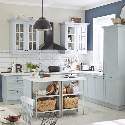 Meuble de cuisine bleu DELINIA Ashford | Leroy Merlin