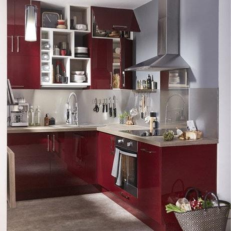 Meuble de cuisine delinia cuisine quip e am nag e - Meuble de cuisine en bois rouge ...