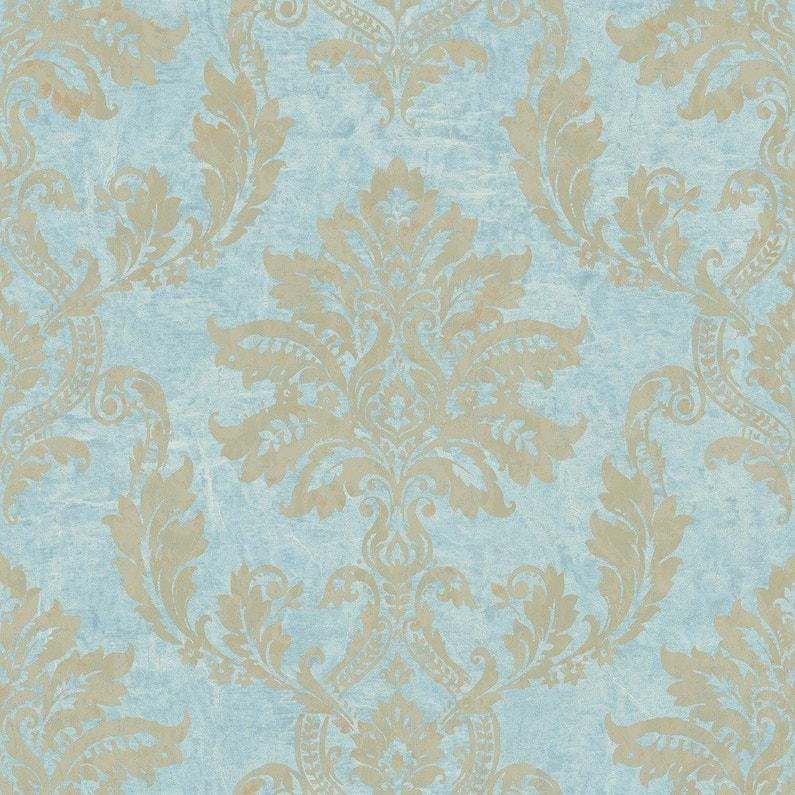 Papier Peint Classic Bleu Dore Intisse Jade Leroy Merlin