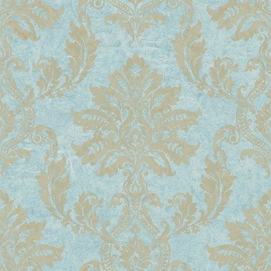 papier peint classic bleu dor intiss jade leroy merlin. Black Bedroom Furniture Sets. Home Design Ideas