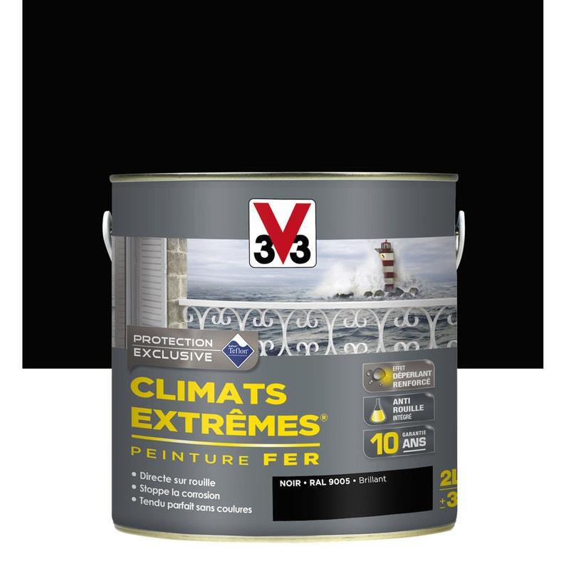 Peinture Fer Extérieur Climats Extrêmes V33 Noir Brillant 2 L