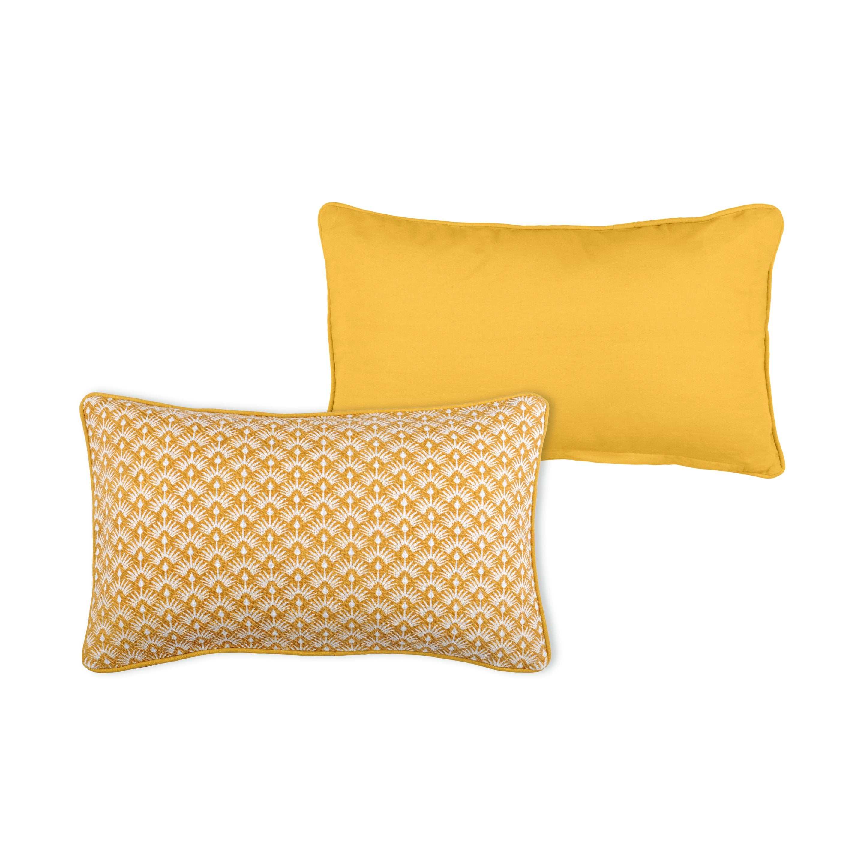Coussin Palma, jaune moutarde l.30 x H.50