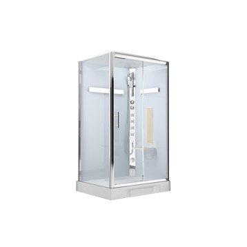 Cabine de douche hydromassante/hammam Ilia chêne ALUTRADE rectangulaire 120x80cm