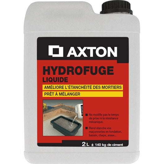 Hydrofuge pour mortier axton 2 l blanc leroy merlin for Hydrofuge beton leroy merlin