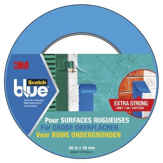 Adh sif scotch blue masquage surfaces rugueuses m x mm bleu leroy merlin - Scotch de masquage ...