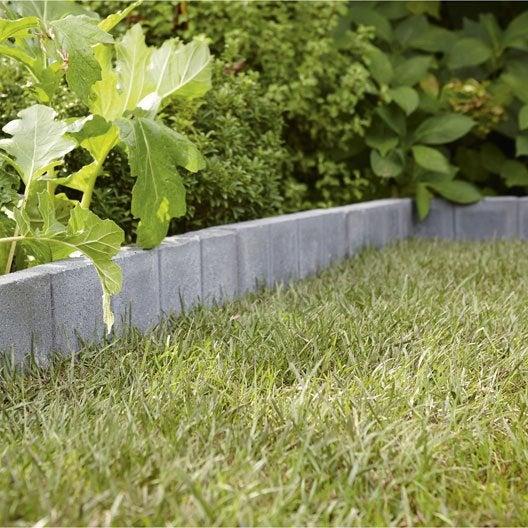 Bordure droite quadra b ton gris h 20 x l 50 cm leroy merlin for Bordure terre cuite jardin