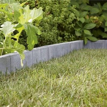 Bordure droite Quadra béton gris ardoise, H.20 x L.50 cm