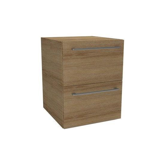caisson meuble bas sensea remix imitation ch ne cm 2 tiroirs leroy merlin. Black Bedroom Furniture Sets. Home Design Ideas