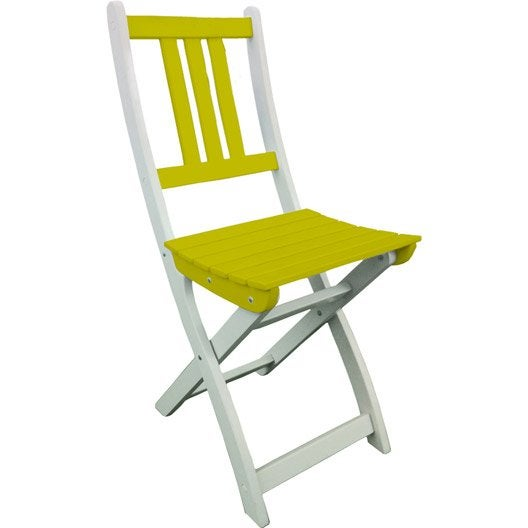 Chaise de jardin en bois burano vert anis doux leroy merlin for Arc de jardin en bois