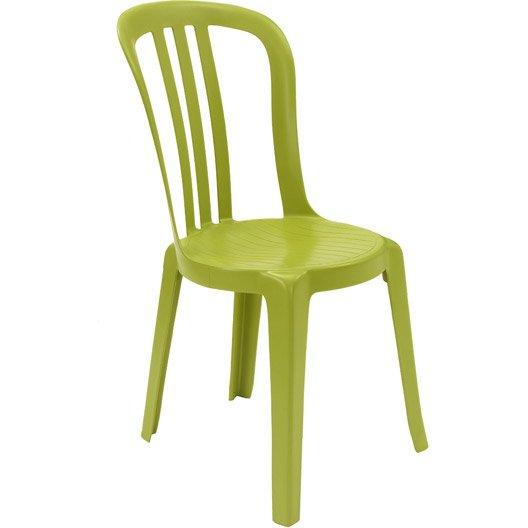 Chaise de jardin en r sine miami vert anis leroy merlin for Salon de jardin vert anis